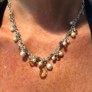 Michael Dawkins SS Pearl and Citrine Necklace